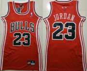 Wholesale Cheap Women's Chicago Bulls #23 Michael Jordan Red Dress Jersey