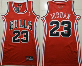 Wholesale Cheap Women\'s Chicago Bulls #23 Michael Jordan Red Dress Jersey