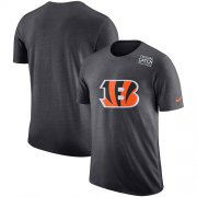 Wholesale Cheap NFL Men's Cincinnati Bengals Nike Anthracite Crucial Catch Tri-Blend Performance T-Shirt