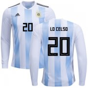 Wholesale Cheap Argentina #20 Lo Celso Home Long Sleeves Kid Soccer Country Jersey