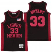 Wholesale Cheap Men's Lower Merion High School #33 Kobe Bryant Black With Red Name High School Swingman Jersey