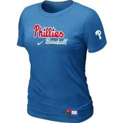 Wholesale Cheap Women's Philadelphia Phillies Nike Short Sleeve Practice MLB T-Shirt Indigo Blue