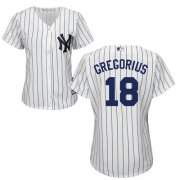 Wholesale Cheap Yankees #18 Didi Gregorius White Strip Home Women's Stitched MLB Jersey