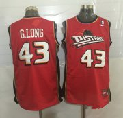 Wholesale Cheap Men's Detroit Pistons #43 Grant Long Red Hardwood Classics Soul Swingman Throwback Jersey