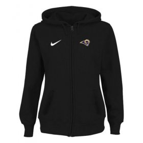 Wholesale Cheap Women\'s Los Angeles Rams Stadium Rally Full Zip Hoodie Black