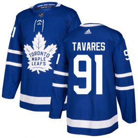 Wholesale Cheap Adidas Maple Leafs #91 John Tavares Blue Home Authentic Stitched Youth NHL Jersey