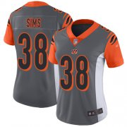Wholesale Cheap Nike Bengals #38 LeShaun Sims Silver Women's Stitched NFL Limited Inverted Legend Jersey