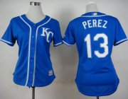 Wholesale Cheap Royals #13 Salvador Perez Blue Alternate 2 Women's Stitched MLB Jersey