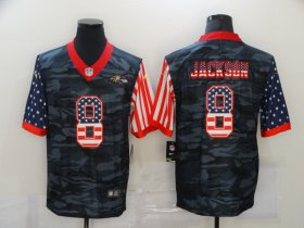 Wholesale Cheap Men\'s Baltimore Ravens #8 Lamar Jackson USA Camo 2020 Salute To Service Stitched NFL Nike Limited Jersey