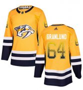 Wholesale Cheap Adidas Predators #64 Mikael Granlund Yellow Home Authentic Drift Fashion Stitched NHL Jersey