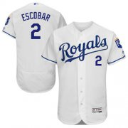 Wholesale Cheap Royals #2 Alcides Escobar White Flexbase Authentic Collection Stitched MLB Jersey