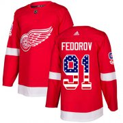 Wholesale Cheap Adidas Red Wings #91 Sergei Fedorov Red Home Authentic USA Flag Stitched NHL Jersey