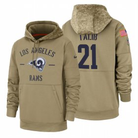 Wholesale Cheap Los Angeles Rams #21 Aqib Talib Nike Tan 2019 Salute To Service Name & Number Sideline Therma Pullover Hoodie