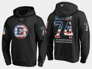 Wholesale Cheap Bruins #74 Jake Debrusk NHL Banner Wave Usa Flag Black Hoodie