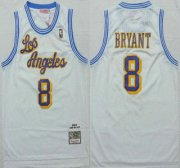 Wholesale Cheap Los Angeles Lakers #8 Kobe Bryant 1996-97 White Hardwood Classics Soul Swingman Throwback Jersey