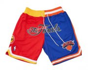 Wholesale Cheap 1994 NBA Finals Rockets x Knicks Shorts (Red-Blue) JUST DON By Mitchell & Ness