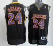 Wholesale Cheap Los Angeles Lakers #24 Kobe Bryant Revolution 30 Swingman Black With Purple Jersey