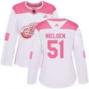 Wholesale Cheap Adidas Red Wings #51 Frans Nielsen White/Pink Authentic Fashion Women's Stitched NHL Jersey