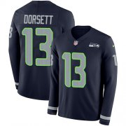 Wholesale Cheap Nike Seahawks #13 Phillip Dorsett Steel Blue Team Color Men's Stitched NFL Limited Therma Long Sleeve Jersey