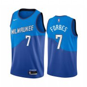 Wholesale Cheap Nike Bucks #7 Bryn Forbes Blue NBA Swingman 2020-21 City Edition Jersey