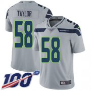 Wholesale Cheap Nike Seahawks #58 Darrell Taylor Grey Alternate Men's Stitched NFL 100th Season Vapor Untouchable Limited Jersey