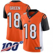 Wholesale Cheap Nike Bengals #18 A.J. Green Orange Alternate Men's Stitched NFL 100th Season Vapor Limited Jersey