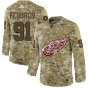 Wholesale Cheap Adidas Red Wings #91 Sergei Fedorov Camo Authentic Stitched NHL Jersey