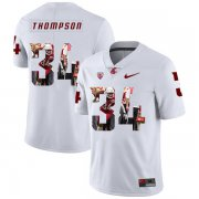 Wholesale Cheap Washington State Cougars 34 Jalen Thompson White Fashion College Football Jersey