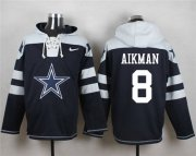 Wholesale Cheap Nike Cowboys #8 Troy Aikman Navy Blue Player Pullover NFL Hoodie