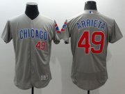 Wholesale Cubs #49 Jake Arrieta Grey Flexbase Authentic Collection Road Stitched Baseball Jersey