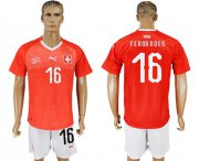 Wholesale Cheap Switzerland #16 Fernandes Red Home Soccer Country Jersey