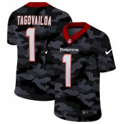 Cheap Miami Dolphins #1 Tua Tagovailoa Men's Nike 2020 Black CAMO Vapor Untouchable Limited Stitched NFL Jersey