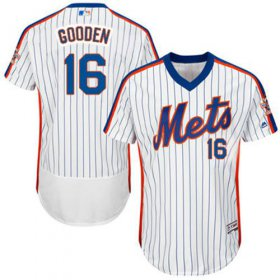 Wholesale Cheap Mets #16 Dwight Gooden White(Blue Strip) Flexbase Authentic Collection Cooperstown Stitched MLB Jersey