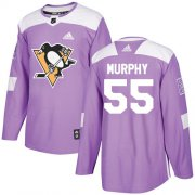 Wholesale Cheap Adidas Penguins #55 Larry Murphy Purple Authentic Fights Cancer Stitched NHL Jersey