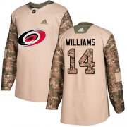 Wholesale Cheap Adidas Hurricanes #14 Justin Williams Camo Authentic 2017 Veterans Day Stitched Youth NHL Jersey