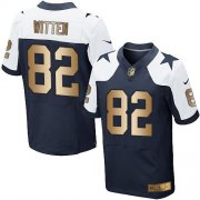 Wholesale Cheap Nike Cowboys #82 Jason Witten Navy Blue Thanksgiving Throwback Men's Stitched NFL Elite Gold Jersey