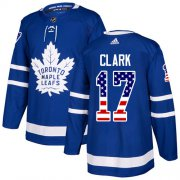 Wholesale Cheap Adidas Maple Leafs #17 Wendel Clark Blue Home Authentic USA Flag Stitched NHL Jersey