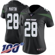 Wholesale Cheap Nike Jets #28 Curtis Martin Black Alternate Women's Stitched NFL 100th Season Vapor Limited Jersey