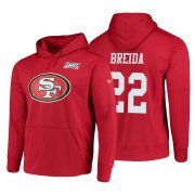 Wholesale Cheap San Francisco 49ers #22 Matt Breida Nike NFL 100 Primary Logo Circuit Name & Number Pullover Hoodie Scarlet