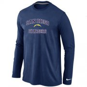 Wholesale Cheap Nike Los Angeles Chargers Heart & Soul Long Sleeve T-Shirt Dark Blue