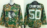 Wholesale Cheap Blackhawks #50 Corey Crawford Camo Veterans Day Practice Stitched Youth NHL Jersey