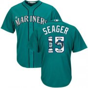 Wholesale Cheap Mariners #15 Kyle Seager Green Team Logo Fashion Stitched MLB Jersey