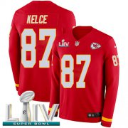 Wholesale Cheap Nike Chiefs #87 Travis Kelce Red Super Bowl LIV 2020 Team Color Youth Stitched NFL Limited Therma Long Sleeve Jersey