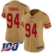 Wholesale Cheap Nike 49ers #94 Solomon Thomas Gold Women's Stitched NFL Limited Inverted Legend 100th Season Jersey