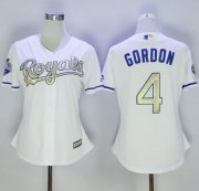 Wholesale Cheap Royals #4 Alex Gordon White 2015 World Series Champions Gold Program Cool Base Women's Stitched MLB Jersey