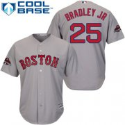Wholesale Cheap Red Sox #25 Jackie Bradley Jr Grey Cool Base 2018 World Series Stitched Youth MLB Jersey