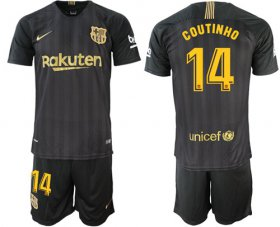 Wholesale Cheap Barcelona #14 Coutinho Black Soccer Club Jersey