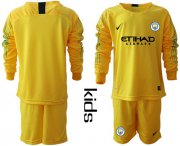 Wholesale Cheap Manchester City Blank Yellow Goalkeeper Long Sleeves Kid Soccer Club Jersey