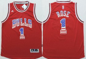 Wholesale Cheap Chicago Bulls #1 Derrick Rose Revolution 30 Swingman 2014 USA Flag Fashion Red Jersey