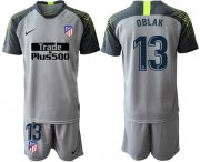 Wholesale Cheap Atletico Madrid #13 Oblak Grey Goalkeeper Soccer Club Jersey